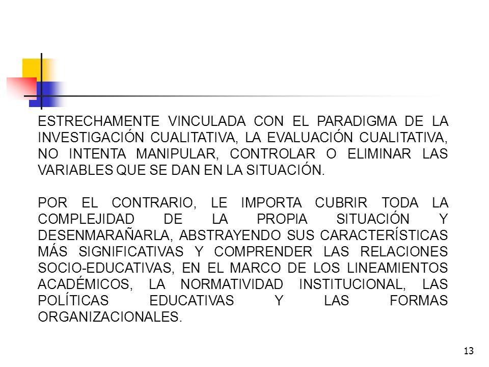 13 ESTRECHAMENTE VINCULADA CON EL PARADIGMA DE LA INVESTIGACIÓN CUALITATIVA, LA EVALUACIÓN CUALITATIVA, NO INTENTA MANIPULAR, CONTROLAR O ELIMINAR LAS