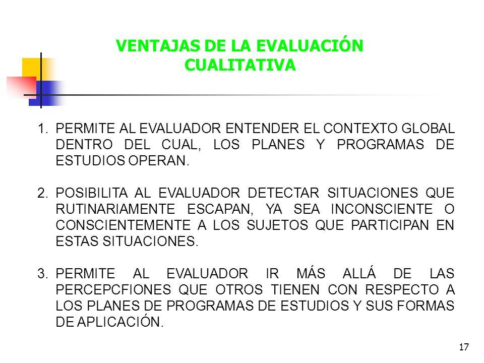 17 1.PERMITE AL EVALUADOR ENTENDER EL CONTEXTO GLOBAL DENTRO DEL CUAL, LOS PLANES Y PROGRAMAS DE ESTUDIOS OPERAN. 2.POSIBILITA AL EVALUADOR DETECTAR S
