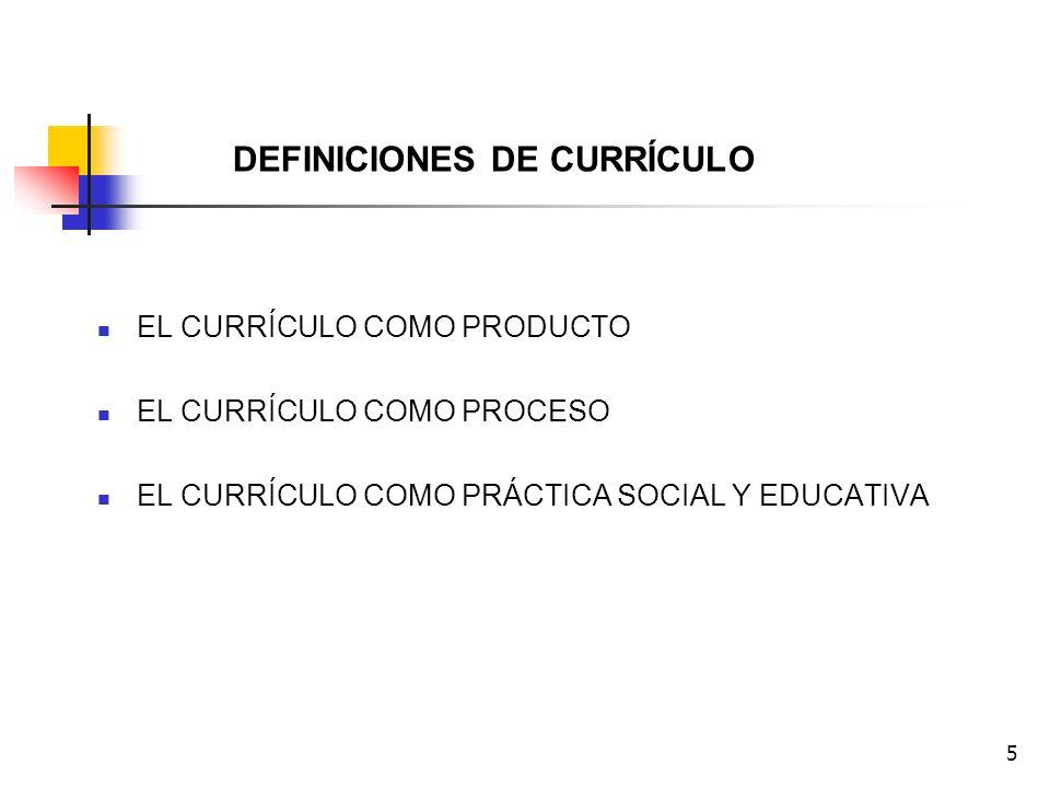 5 DEFINICIONES DE CURRÍCULO EL CURRÍCULO COMO PRODUCTO EL CURRÍCULO COMO PROCESO EL CURRÍCULO COMO PRÁCTICA SOCIAL Y EDUCATIVA