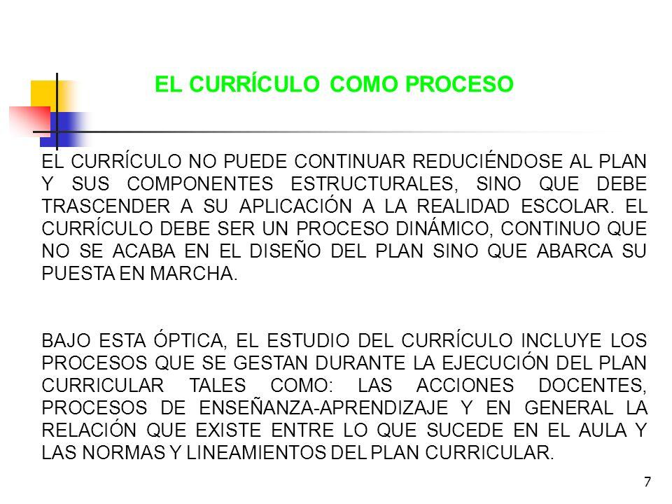8 EL CURRICULO COMO PRÁCTICA RECOGE LAS INTERPRETACIONES, ASPIRACIONES Y PERCEPCIONES QUE EXPRESAN LOS SUJETOS INVOLUCRADOS EN EL PROCESO CURRICULAR: TOMADORES DE DECISIONES, PROFESORES, ESTUDIANTES, ETC.