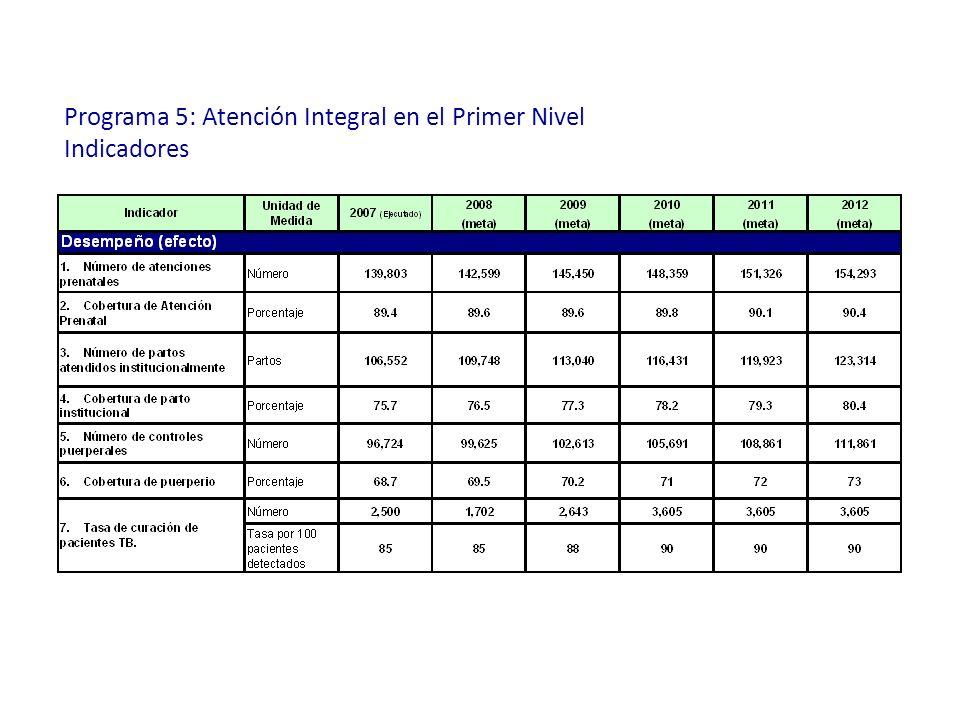 Programa 5: Atención Integral en el Primer Nivel Indicadores