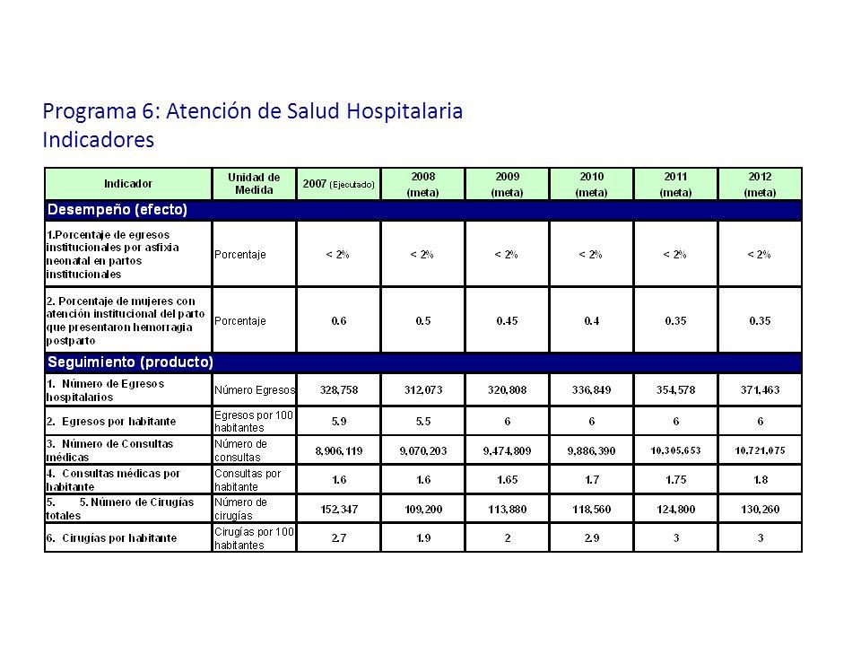Programa 6: Atención de Salud Hospitalaria Indicadores
