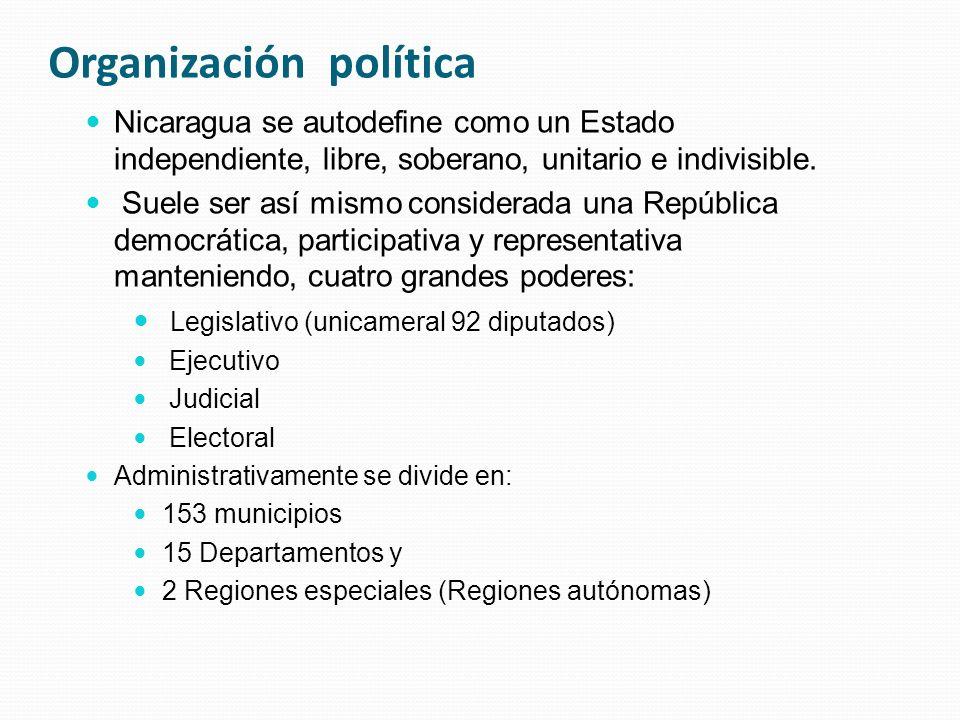 Organización política Nicaragua se autodefine como un Estado independiente, libre, soberano, unitario e indivisible.