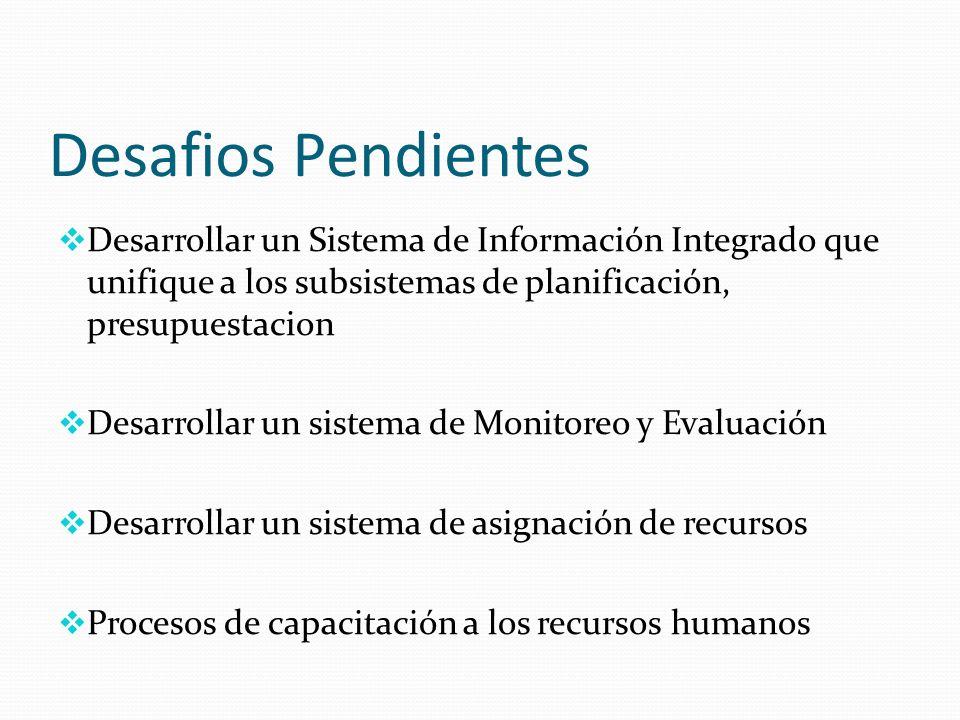 Desafios Pendientes Desarrollar un Sistema de Información Integrado que unifique a los subsistemas de planificación, presupuestacion Desarrollar un sistema de Monitoreo y Evaluación Desarrollar un sistema de asignación de recursos Procesos de capacitación a los recursos humanos