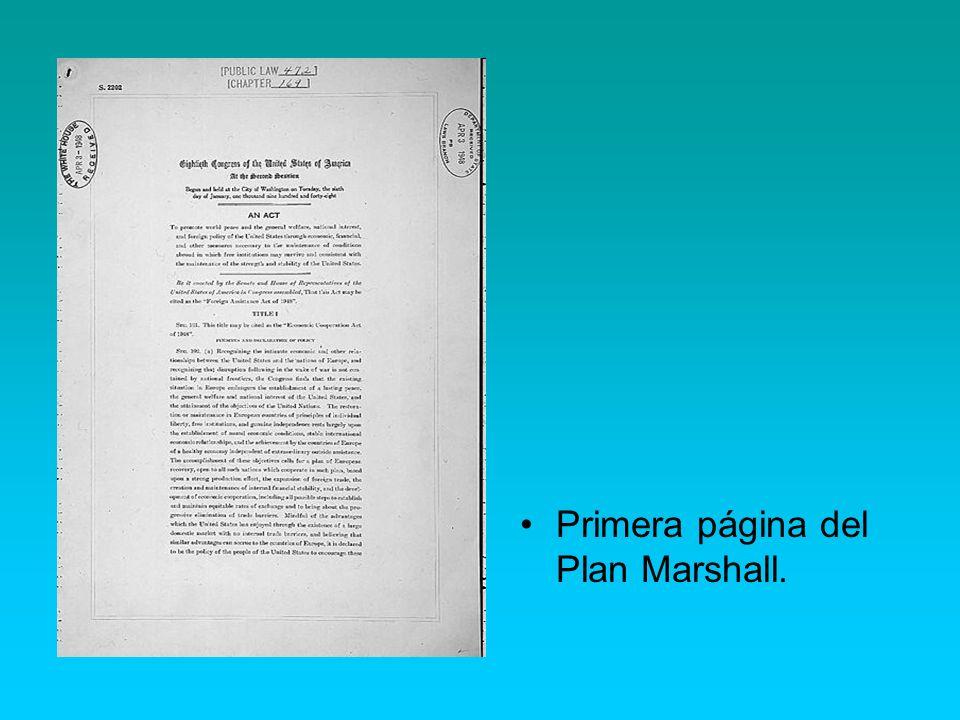 Primera página del Plan Marshall.