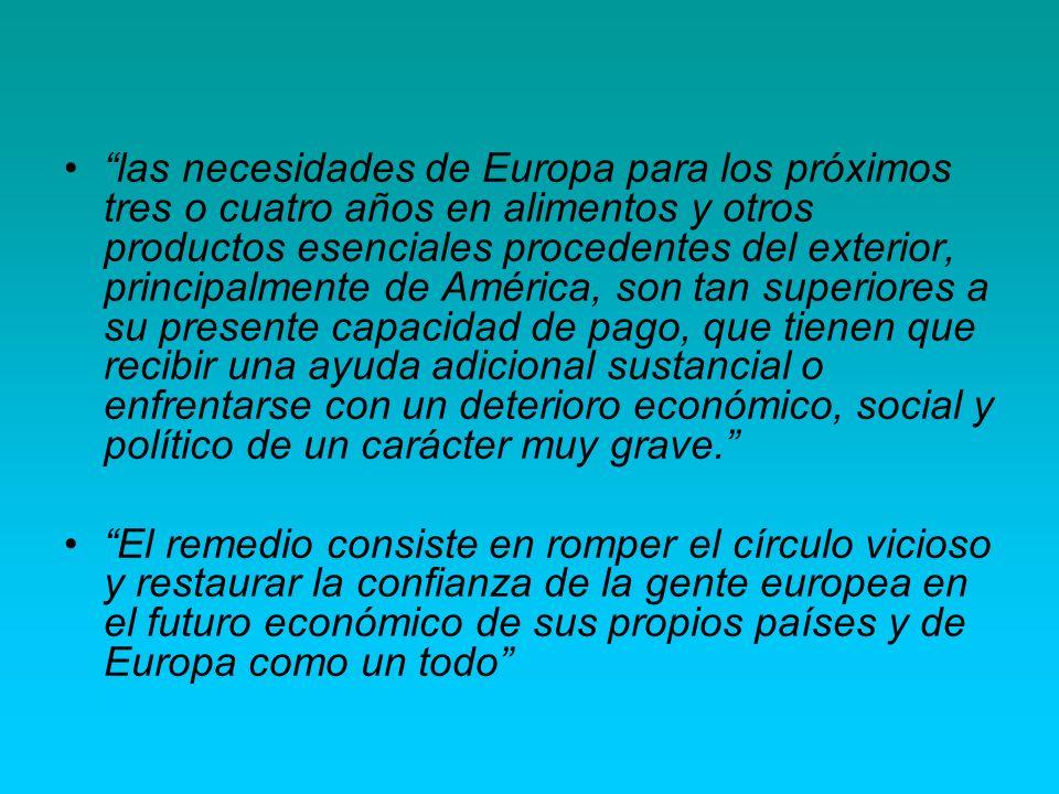 las necesidades de Europa para los próximos tres o cuatro años en alimentos y otros productos esenciales procedentes del exterior, principalmente de A