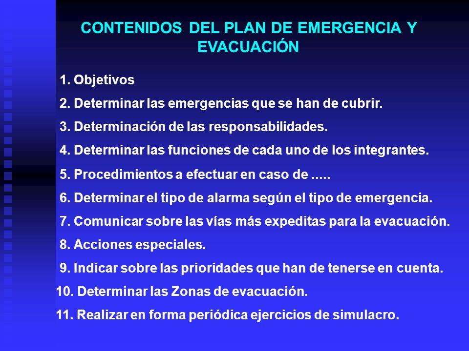 DEFINICIÓN Y FUNCIONES DE CADA INTEGRANTE DE LA ORGANIZACIÓN : PUESTOFUNCIÓN Jefe de EmergenciaLidera las acciones que se deban adoptar al momento de