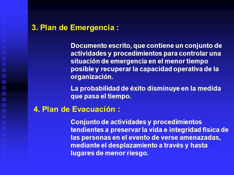 CONCEPTOS : 1. Emergencia : Lapso en el cual se alteran las condiciones de las actividades normales en una planta industrial, edificio, establecimient