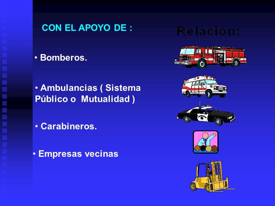 CON EL APOYO DE : Ambulancias ( Sistema Público o Mutualidad ) Bomberos.