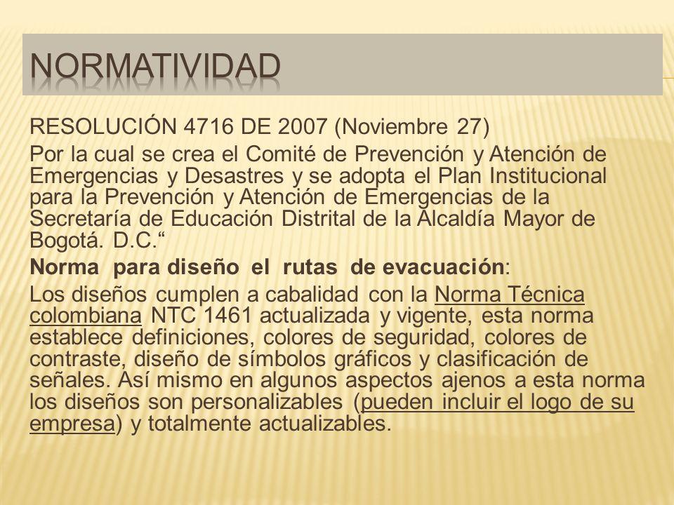 RESOLUCIÓN 4716 DE 2007 (Noviembre 27) Por la cual se crea el Comité de Prevención y Atención de Emergencias y Desastres y se adopta el Plan Institucional para la Prevención y Atención de Emergencias de la Secretaría de Educación Distrital de la Alcaldía Mayor de Bogotá.