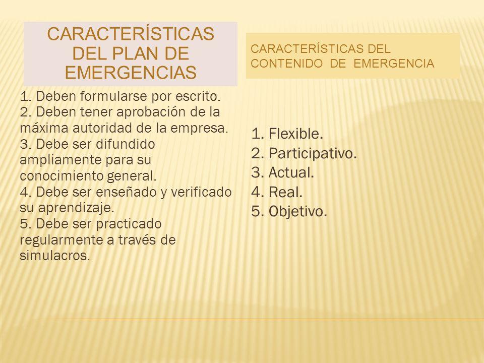 CARACTERÍSTICAS DEL PLAN DE EMERGENCIAS CARACTERÍSTICAS DEL CONTENIDO DE EMERGENCIA 1.