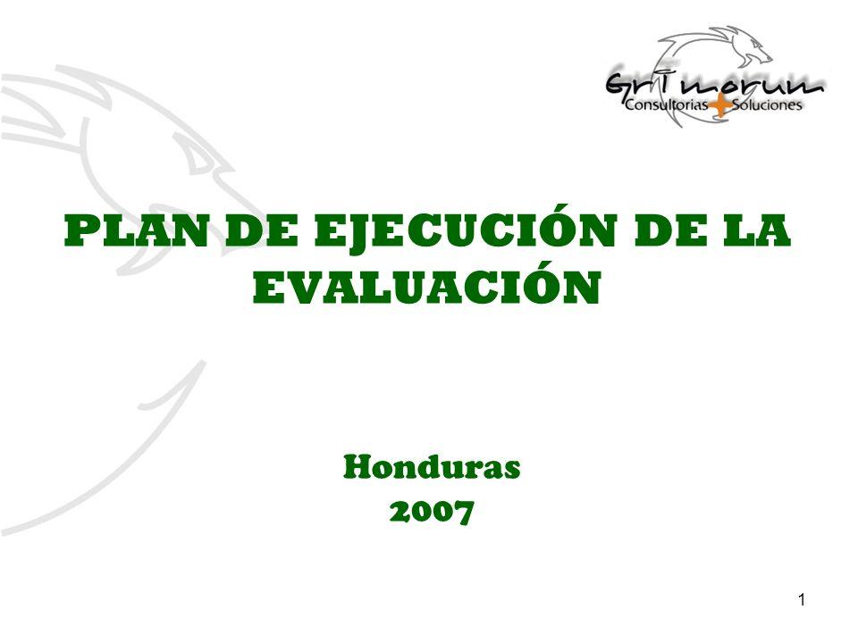 1 PLAN DE EJECUCIÓN DE LA EVALUACIÓN Honduras 2007