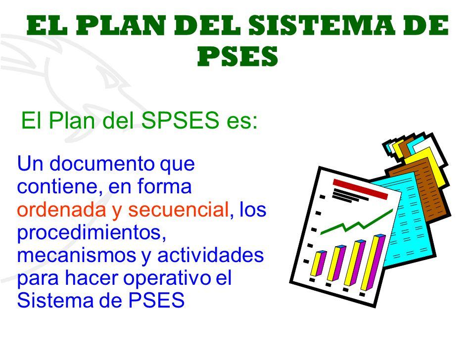2 EL PLAN DEL SISTEMA DE PSES Un documento que contiene, en forma ordenada y secuencial, los procedimientos, mecanismos y actividades para hacer operativo el Sistema de PSES El Plan del SPSES es: