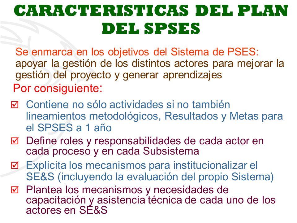 3 CARACTERISTICAS DEL PLAN DEL SPSES Se enmarca en los objetivos del Sistema de PSES: apoyar la gestión de los distintos actores para mejorar la gestión del proyecto y generar aprendizajes Por consiguiente : Contiene no sólo actividades si no también lineamientos metodológicos, Resultados y Metas para el SPSES a 1 año Define roles y responsabilidades de cada actor en cada proceso y en cada Subsistema Explicita los mecanismos para institucionalizar el SE&S (incluyendo la evaluación del propio Sistema) Plantea los mecanismos y necesidades de capacitación y asistencia técnica de cada uno de los actores en SE&S