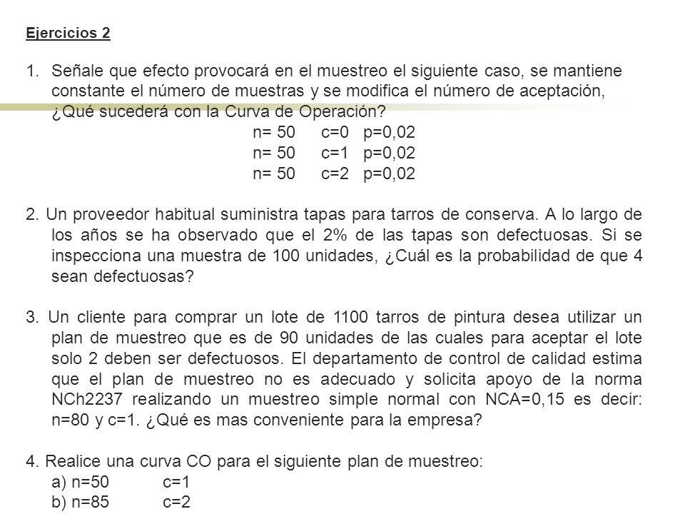 Ejercicios 2 1.Señale que efecto provocará en el muestreo el siguiente caso, se mantiene constante el número de muestras y se modifica el número de ac