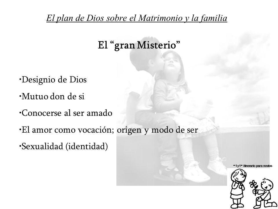 El plan de Dios sobre el Matrimonio y la familia 1y1 itinerario para novios El gran Misterio Designio de Dios Mutuo don de si Conocerse al ser amado E