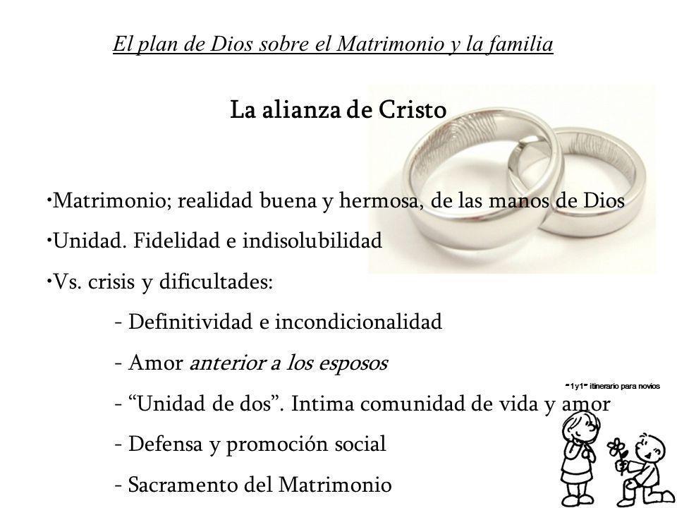 El plan de Dios sobre el Matrimonio y la familia 1y1 itinerario para novios La alianza de Cristo Matrimonio; realidad buena y hermosa, de las manos de