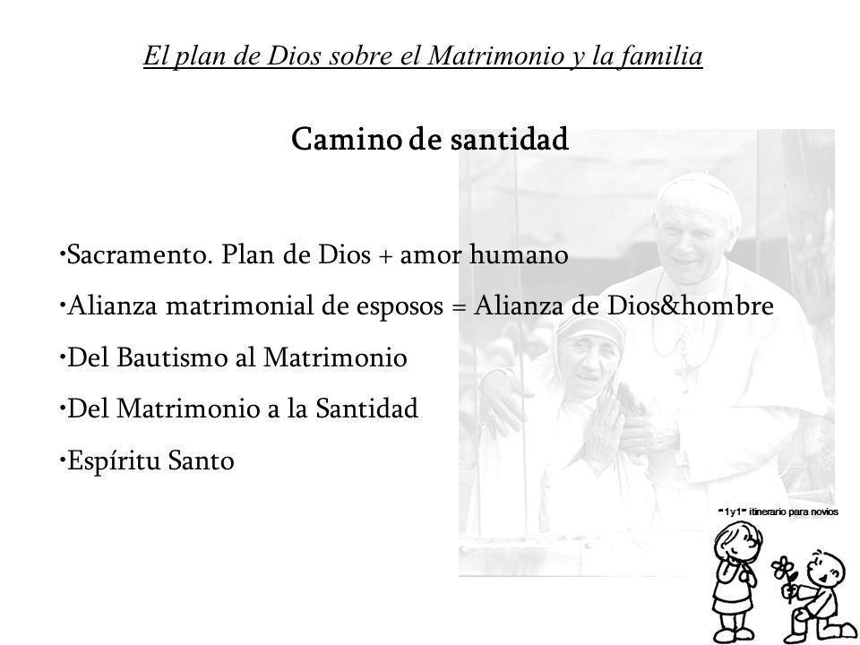 El plan de Dios sobre el Matrimonio y la familia 1y1 itinerario para novios Camino de santidad Sacramento. Plan de Dios + amor humano Alianza matrimon