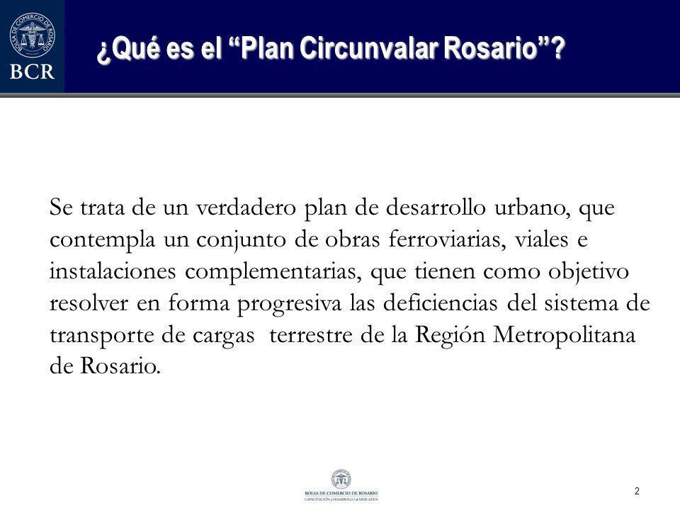 2 ¿Qué es el Plan Circunvalar Rosario? Se trata de un verdadero plan de desarrollo urbano, que contempla un conjunto de obras ferroviarias, viales e i