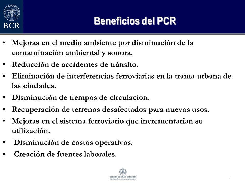 8 Beneficios del PCR Mejoras en el medio ambiente por disminución de la contaminación ambiental y sonora. Reducción de accidentes de tránsito. Elimina