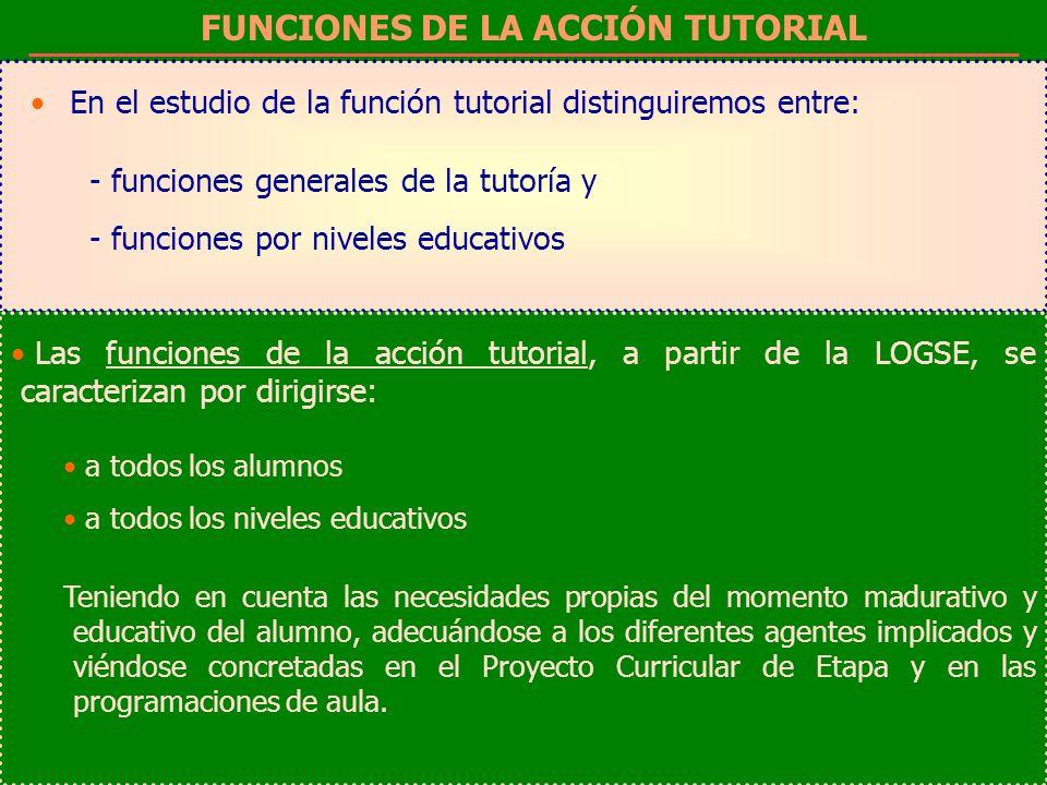 FUNCIONES DE LA ACCIÓN TUTORIAL En el estudio de la función tutorial distinguiremos entre: - funciones generales de la tutoría y - funciones por nivel