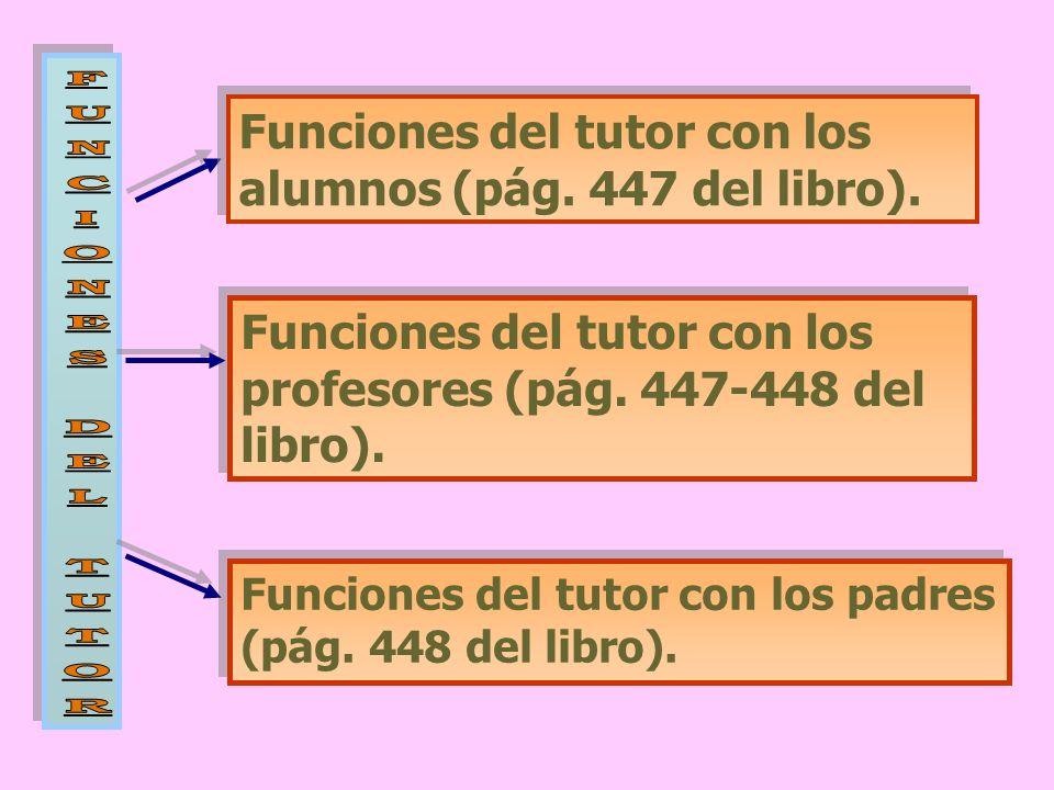 Funciones del tutor con los alumnos (pág. 447 del libro). Funciones del tutor con los profesores (pág. 447-448 del libro). Funciones del tutor con los