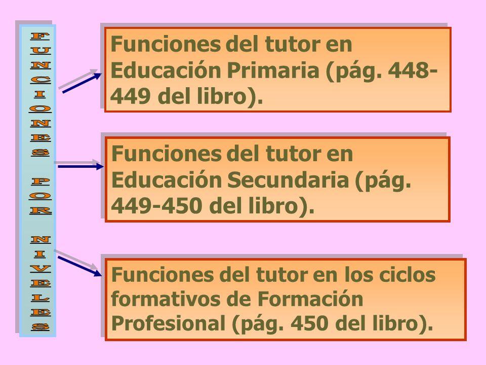 Funciones del tutor en Educación Primaria (pág. 448- 449 del libro). Funciones del tutor en Educación Secundaria (pág. 449-450 del libro). Funciones d