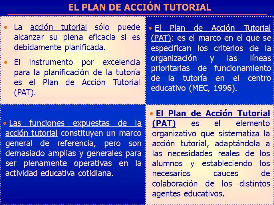 EL PLAN DE ACCIÓN TUTORIAL La acción tutorial sólo puede alcanzar su plena eficacia si es debidamente planificada. El instrumento por excelencia para