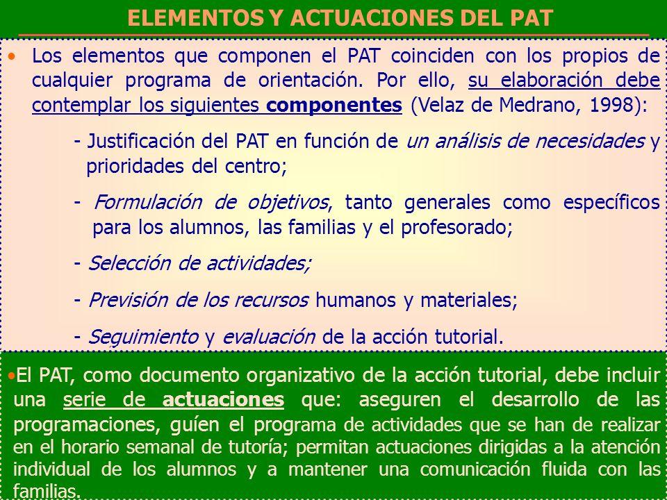 ELEMENTOS Y ACTUACIONES DEL PAT Los elementos que componen el PAT coinciden con los propios de cualquier programa de orientación. Por ello, su elabora