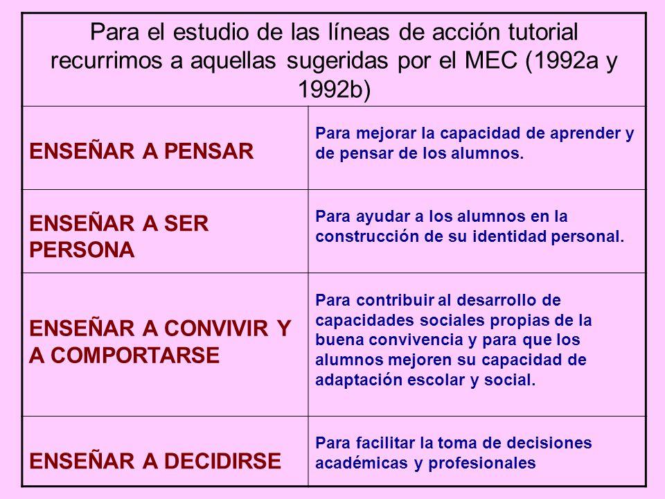 Para el estudio de las líneas de acción tutorial recurrimos a aquellas sugeridas por el MEC (1992a y 1992b) ENSEÑAR A PENSAR Para mejorar la capacidad