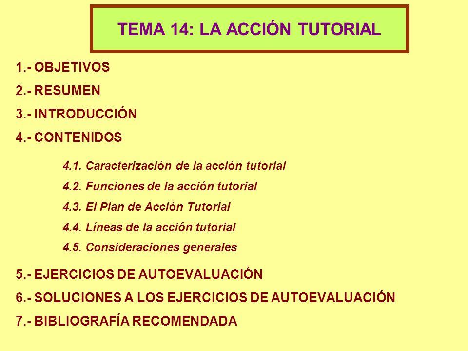 1.- OBJETIVOS 2.- RESUMEN 3.- INTRODUCCIÓN 4.- CONTENIDOS 4.1. Caracterización de la acción tutorial 4.2. Funciones de la acción tutorial 4.3. El Plan