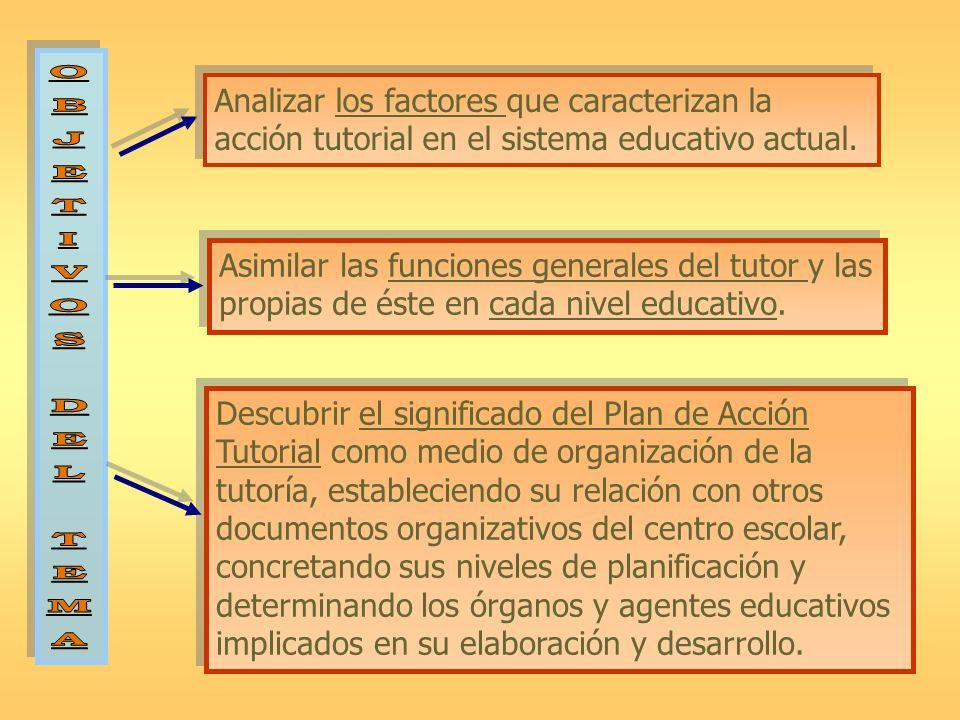 Analizar los factores que caracterizan la acción tutorial en el sistema educativo actual. Asimilar las funciones generales del tutor y las propias de