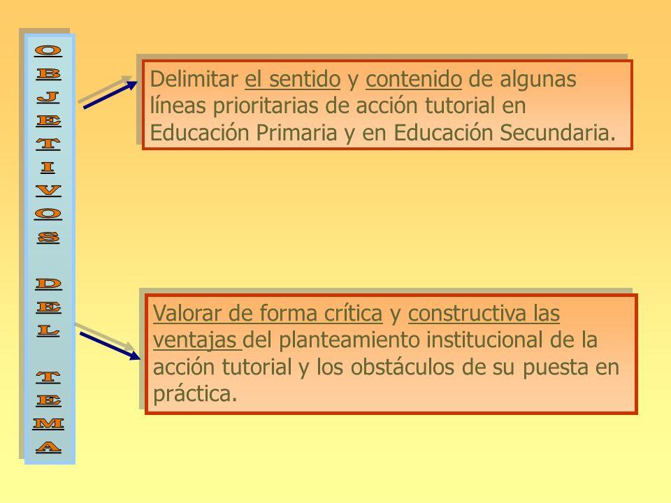 Delimitar el sentido y contenido de algunas líneas prioritarias de acción tutorial en Educación Primaria y en Educación Secundaria. Valorar de forma c