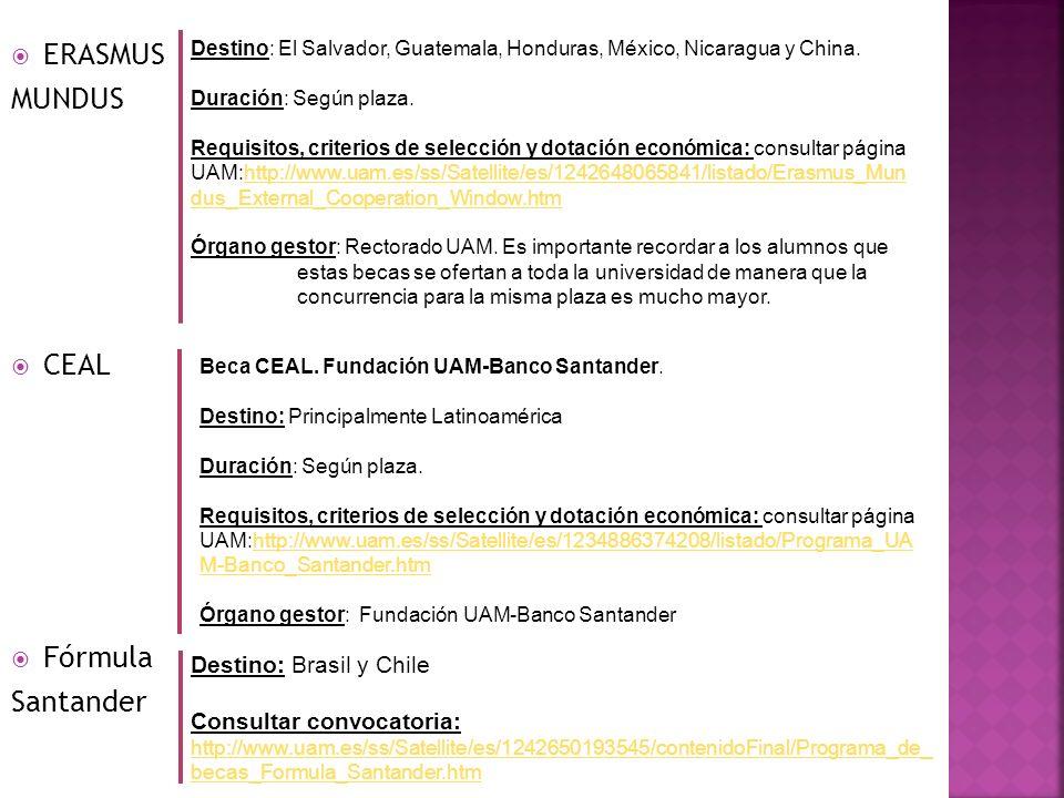 ERASMUS MUNDUS Destino: El Salvador, Guatemala, Honduras, México, Nicaragua y China. Duración: Según plaza. Requisitos, criterios de selección y dotac