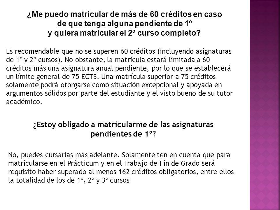 ¿Me puedo matricular de más de 60 créditos en caso de que tenga alguna pendiente de 1º y quiera matricular el 2º curso completo? Es recomendable que n