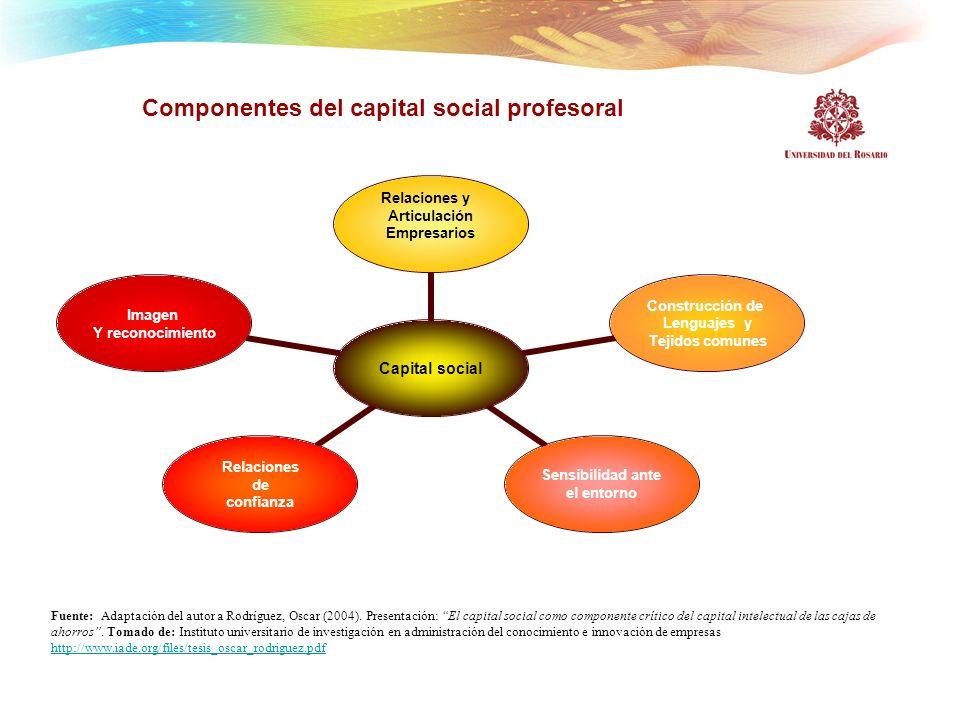 Componentes del capital social profesoral Capital social Relaciones y Articulación Empresarios Construcción de Lenguajes y Tejidos comunes Sensibilida