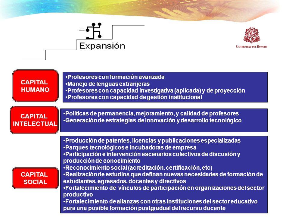 CAPITAL HUMANO CAPITAL INTELECTUAL CAPITAL SOCIAL Profesores con formación avanzada Manejo de lenguas extranjeras Profesores con capacidad investigati