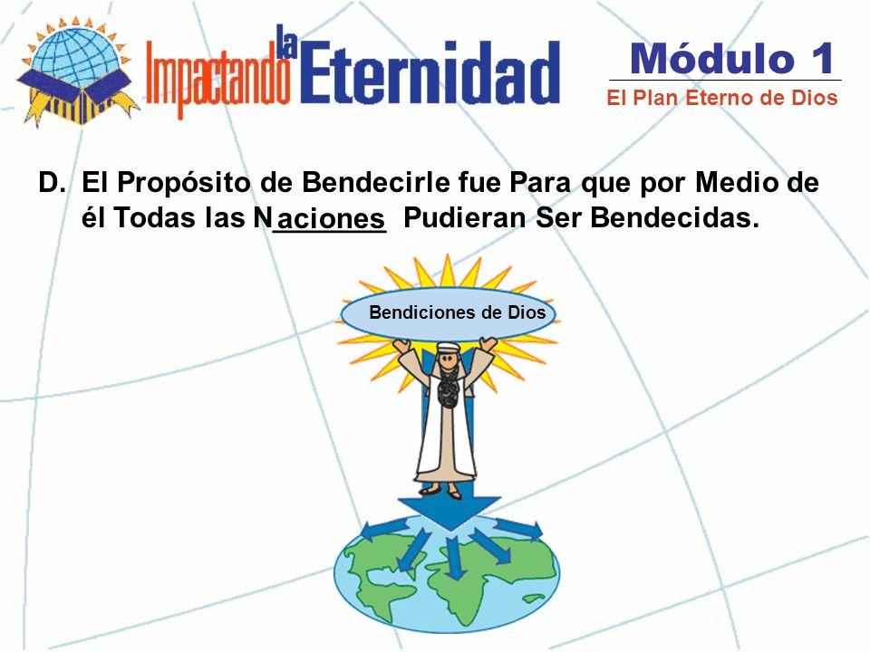 Módulo 1 El Plan Eterno de Dios D.El Propósito de Bendecirle fue Para que por Medio de él Todas las N_______ Pudieran Ser Bendecidas.