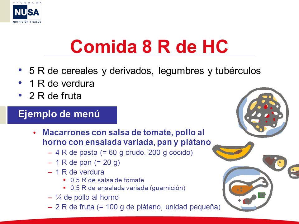 Comida 8 R de HC 5 R de cereales y derivados, legumbres y tubérculos 1 R de verdura 2 R de fruta Ejemplo de menú Macarrones con salsa de tomate, pollo