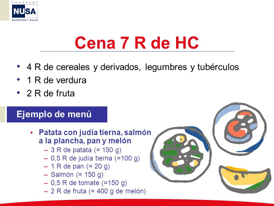 Cena 7 R de HC 4 R de cereales y derivados, legumbres y tubérculos 1 R de verdura 2 R de fruta Ejemplo de menú Patata con judía tierna, salmón a la pl