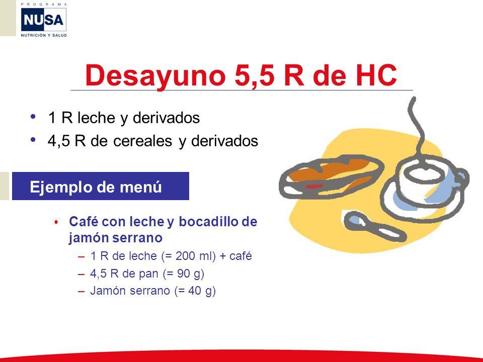 Desayuno 5,5 R de HC 1 R leche y derivados 4,5 R de cereales y derivados Ejemplo de menú Café con leche y bocadillo de jamón serrano –1 R de leche (=