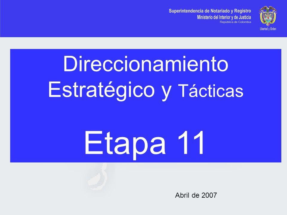 Direccionamiento Estratégico y Tácticas Etapa 11 Abril de 2007