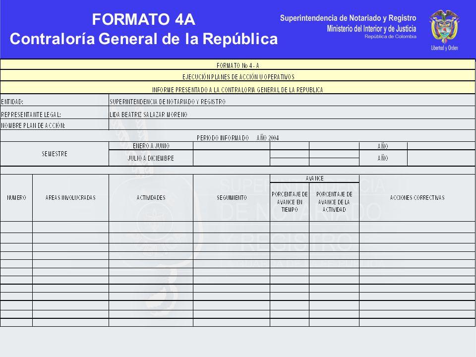 FORMATO 4A Contraloría General de la República
