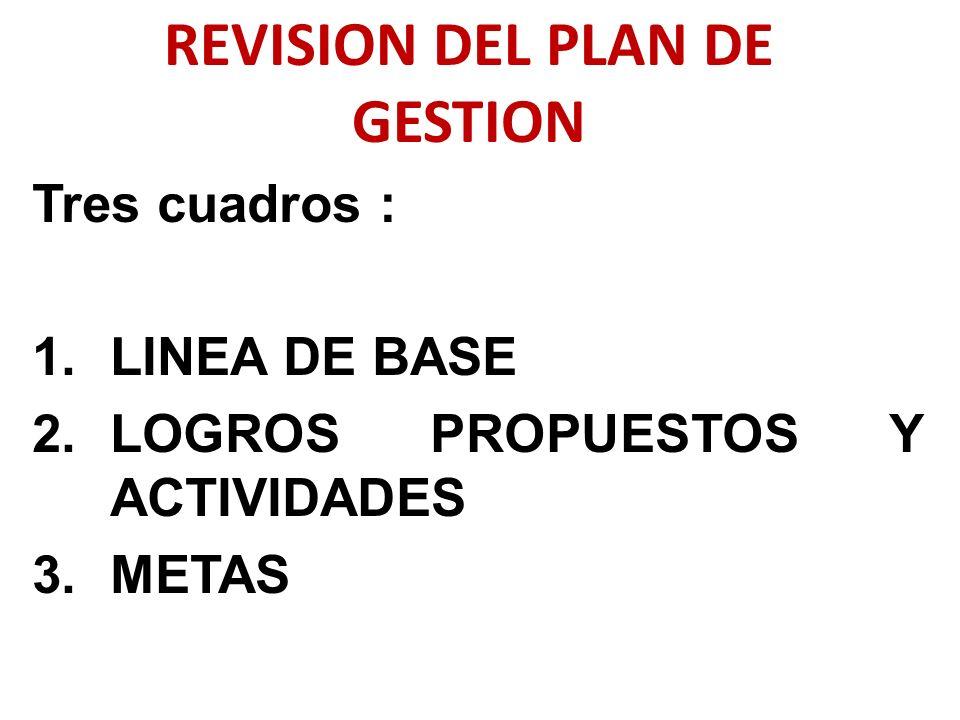 Tres cuadros : 1.LINEA DE BASE 2.LOGROS PROPUESTOS Y ACTIVIDADES 3.METAS REVISION DEL PLAN DE GESTION