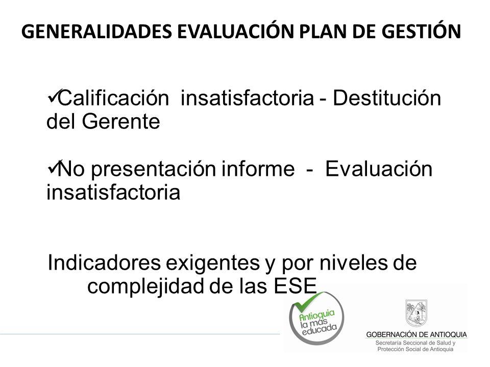 Calificación insatisfactoria - Destitución del Gerente No presentación informe - Evaluación insatisfactoria Indicadores exigentes y por niveles de complejidad de las ESE GENERALIDADES EVALUACIÓN PLAN DE GESTIÓN