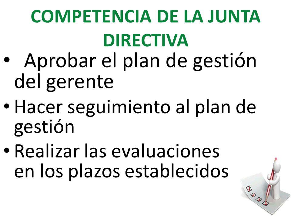 COMPETENCIA DE LA JUNTA DIRECTIVA Aprobar el plan de gestión del gerente Hacer seguimiento al plan de gestión Realizar las evaluaciones en los plazos establecidos