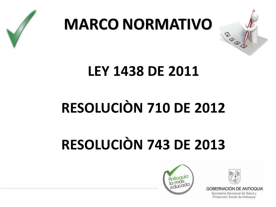 MARCO NORMATIVO LEY 1438 DE 2011 RESOLUCIÒN 710 DE 2012 RESOLUCIÒN 743 DE 2013