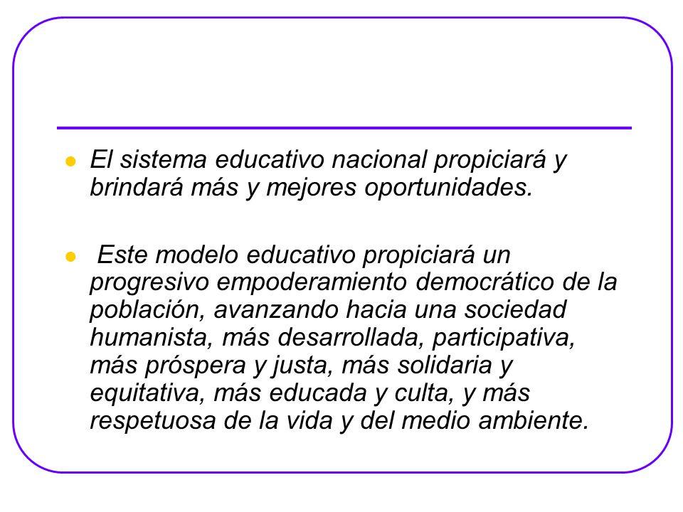 El sistema educativo nacional propiciará y brindará más y mejores oportunidades.