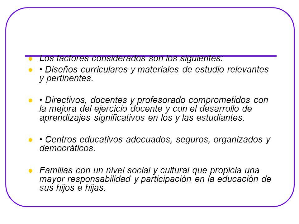 Los factores considerados son los siguientes: Diseños curriculares y materiales de estudio relevantes y pertinentes.