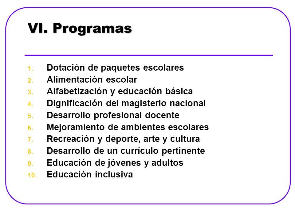 VI.Programas 1. Dotación de paquetes escolares 2.